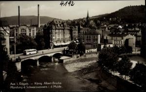 Ak Aue im Erzgebirge Sachsen, König Albert Brücke, Mündung des Schwarzwassers in der Mulde