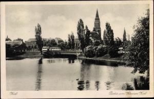 Ak Kiel in Schleswig Holstein, Partie am Kleinen Kiel, Kirche, Straßenbahn