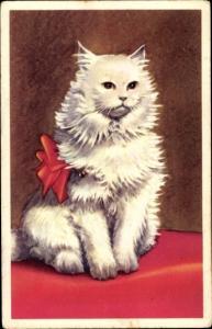 Künstler Ak Weiße langhaarige Katze mit roter Schleife