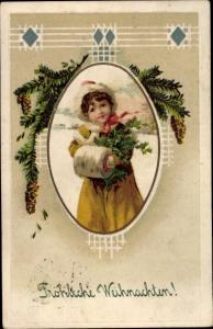 Ak Frohe Weihnachten, Tannenbaum, Kind, Winterlandschaft