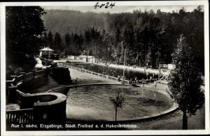 Ak Aue im Erzgebirge Sachsen, Städtisches Freibad an der Hakenkrümme