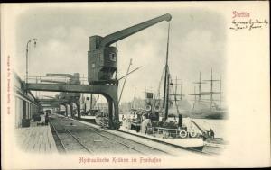 Ak Szczecin Stettin Pommern, Hydraulische Krähne im Freihafen, Stengel 8009