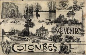 Ak Colombes Hauts de Seine, Souvenirs, La Mairie, La Seine, La Gare