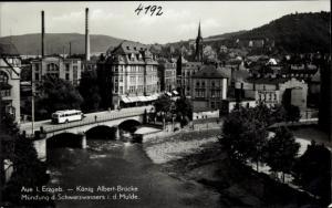 Ak Aue im Erzgebirge Sachsen, König Albert Brücke, Mündung Schwarzwassers in die Mulde