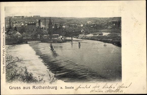 Ak Rothenburg an der Saale, Stadtbild mit Wehr 0