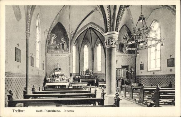 Ak Treffurt an der Werra, Katholische Pfarrkirche, Innenansicht 0