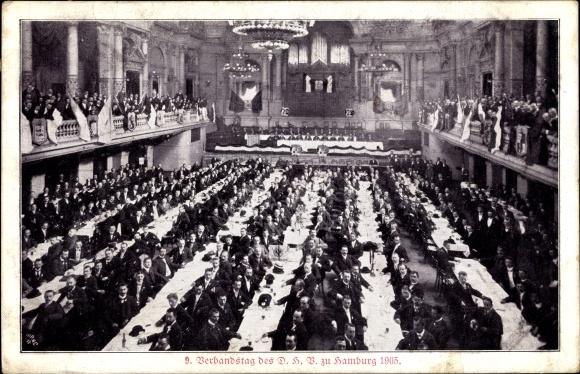 Ak Hamburg Mitte Altstadt, 9. Verbandstag des DHB 1905, Gruppenbild im Prunksaal 0