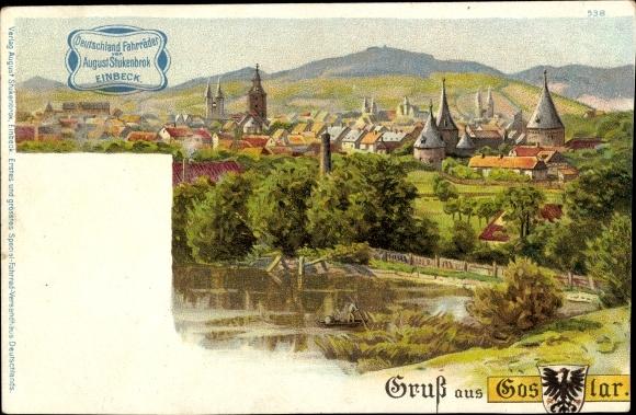 Litho Goslar am Harz, Panorama vom Ort, Wappen, August Stukenbrok Fahrräder 0