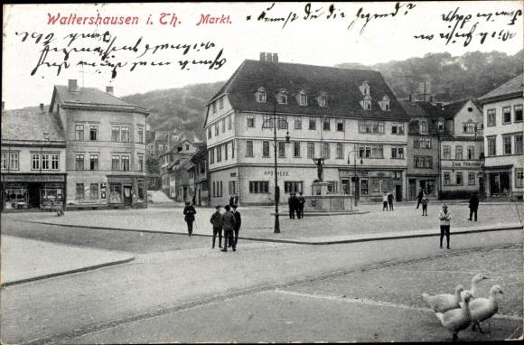 Ak Waltershausen in Thüringen, Markt 0