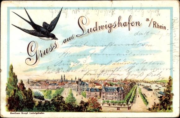 Litho Ludwigshafen am Rhein Rheinland Pfalz, Panoramablick auf die Stadt, Schwalbe 0