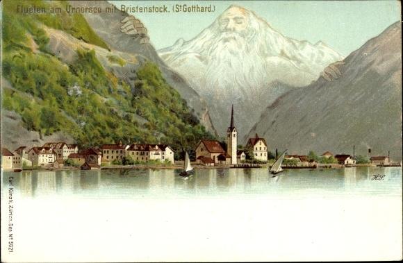 Ak Flüelen Kanton Uri Schweiz, Panorama mit Urnersee und Brisenstock, St. Gotthard 0