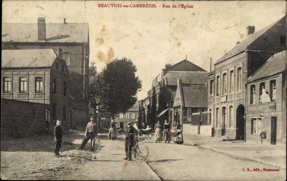 Ak Beauvois en Cambrésis Nord, Rue de l'Eglise 0