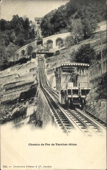 Ak Glion Montreux Kanton Waadt, Chemin de Fer de Territet Glion 0
