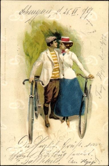 Litho Liebespaar mit Fahrrädern, Umarmung 0