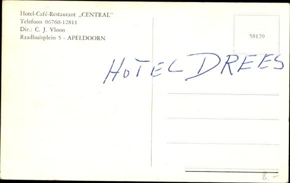 Ak Apeldoorn Gelderland, Hotel Central 1