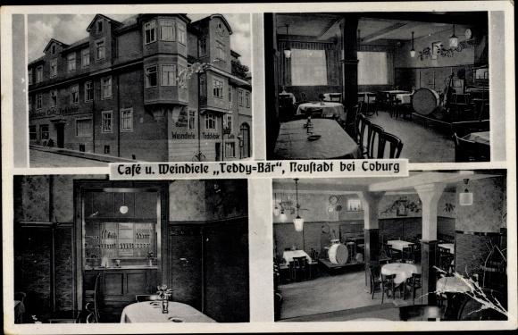 Ak Neustadt bei Coburg in Oberfranken, Café und Weindiele Teddybär 0