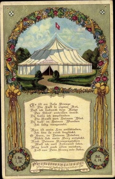 Künstler Ak Geisweid Siegen Nordrhein Westfalen, Deutsche Zeltmission, Bibelpsalm 1. Kor 1,18 0