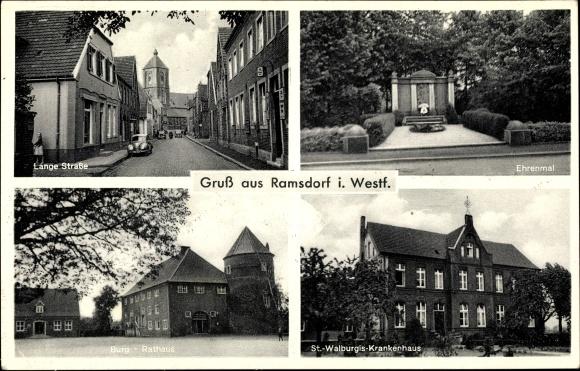 Ak Ramsdorf Velen Münsterland, Lange Straße, Ehrenmal, Burg, Rathaus, St. Walburgis Krankenhaus 0