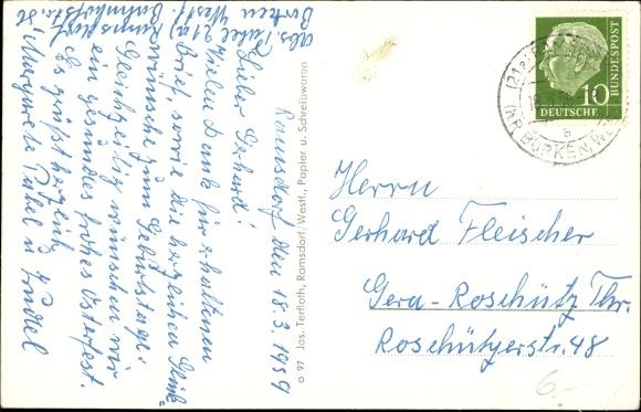 Ak Ramsdorf Velen Münsterland, Lange Straße, Ehrenmal, Burg, Rathaus, St. Walburgis Krankenhaus 1