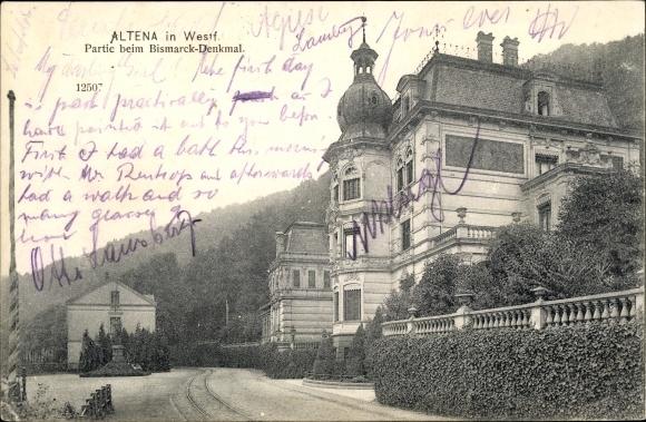 Ak Altena in Westfalen, Partie beim Bismarck Denkmal 0