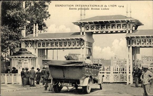 Ak Lyon Rhône, Exposition Internationale 1914, Entree principale Avenue Leclerc 0