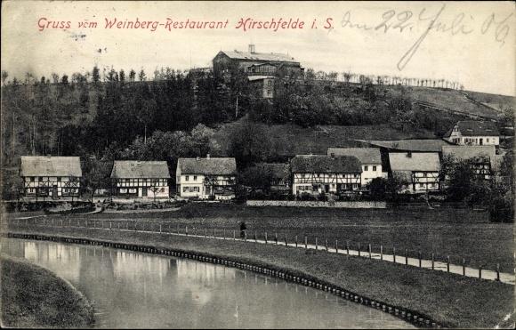 Ak Hirschfelde Zittau in Sachsen, Weinberg Restaurant, Panorama 0