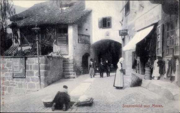 Ak Meran Merano Südtirol, Straßenpartie 0