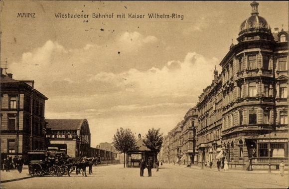 Ak Mainz am Rhein, Wiesbadener Bahnhof, Kaiser Wilhelm Ring 0