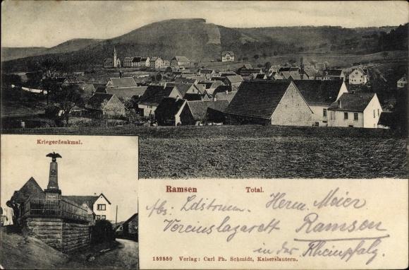 Ak Ramsen in Rheinland Pfalz, Kriegerdenkmal, Panorama 0