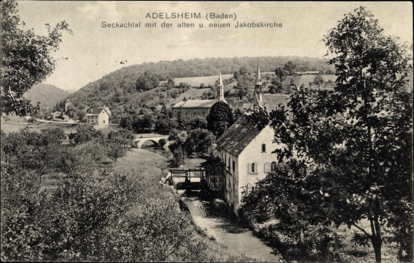 Ak Adelsheim im Neckar Odenwald Kreis, Seckachtal mit der alten und neuen Jakobskirche 0
