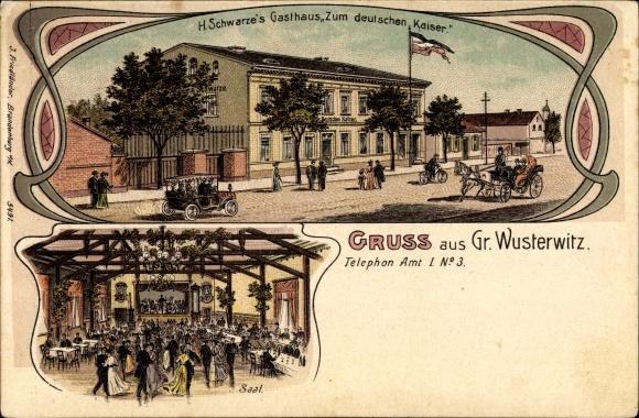 Litho Großwusterwitz Wusterwitz in Brandenburg, Gasthaus Zum deutschen Kaiser, Saal 0