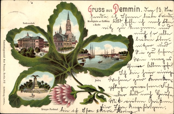 Kleeblatt Litho Demmin in Vorpommern, Kriegerdenkmal, Knabenschule, Hafen, Marktplatz, Rathaus 0