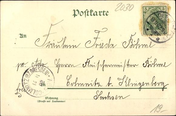 Kleeblatt Litho Demmin in Vorpommern, Kriegerdenkmal, Knabenschule, Hafen, Marktplatz, Rathaus 1