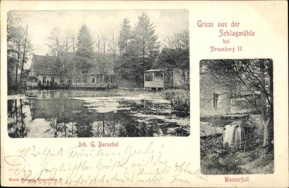 Ak Strausberg in Brandenburg, Schlagmühle, Wasserfall 0