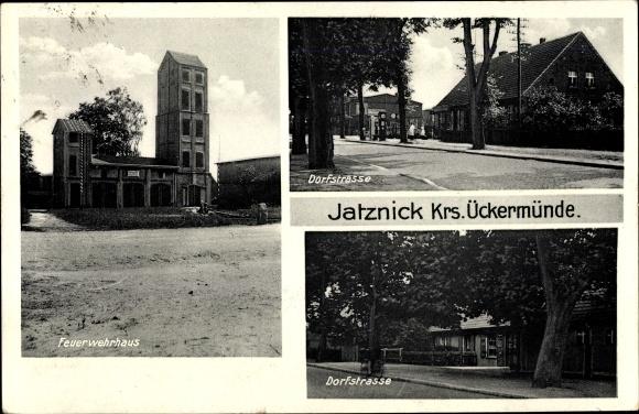 Ak Jatznick in Vorpommern, Feuerwehrhaus, Dorfstraße 0