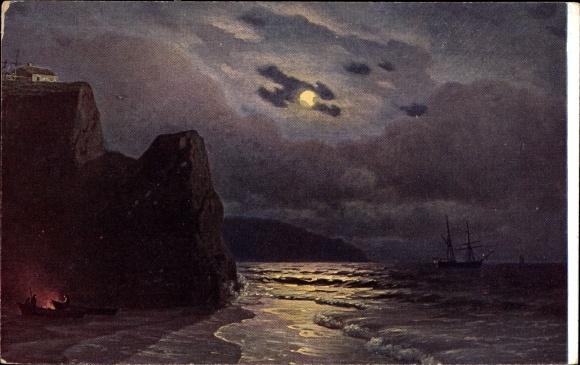 Künstler Ak Kalmykoff, G. O., Die Mondnacht 0