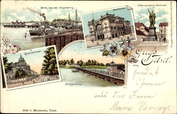 Litho Sowjetsk Tilsit Ostpreußen, Stadttheater, Schenkendorf Denkmal, Lindenstraße, Schiffbrücke 0