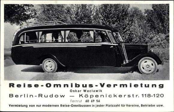 Ak Berlin Neukölln Rudow, Reise Omnibus Vermietung, Köpenickerstr. 118-120 0
