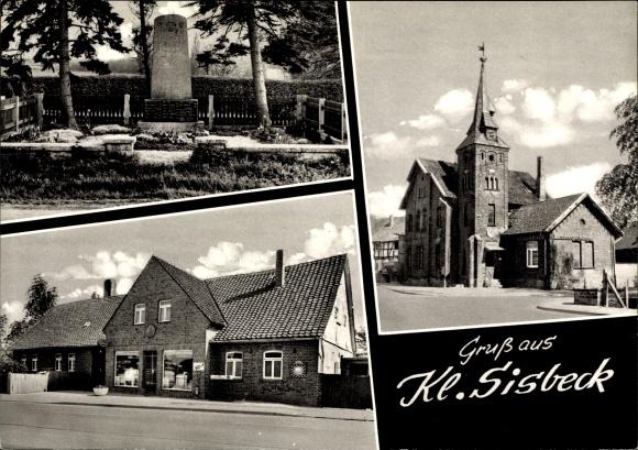 Ak Klein Sisbeck Groß Twülpstedt in Niedersachsen, Denkmal, Geschäft, Kirche 0