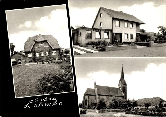 Ak Lehmke Uelzen in Niedersachsen, Kirche, Ortspartien 0