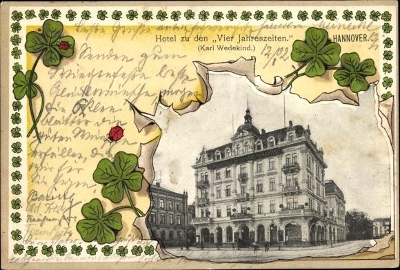 Präge Passepartout Ak Hannover in Niedersachsen, Hotel zu den Vier Jahreszeiten, Marienkäfer 0