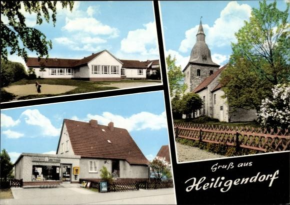 Ak Heiligendorf Wolfsburg in Niedersachsen, Kirche, Geschäft, Schule 0