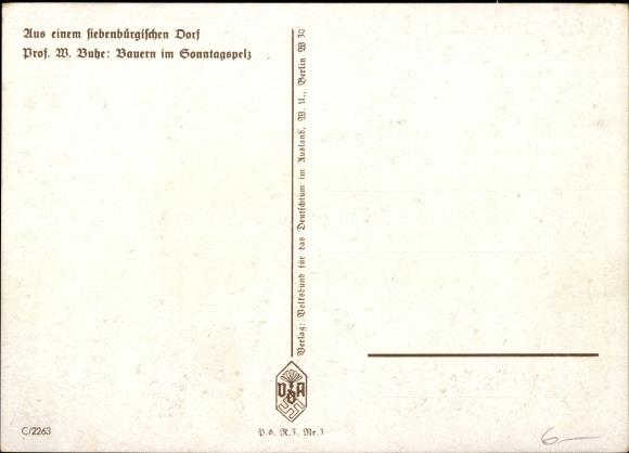 Künstler Ak Bühe, W., Bauen im Sonntagspelz, Siebenbürgen 1