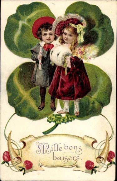 Präge Litho Mille bons baisers, Mädchen und Junge, Kleeblatt 0