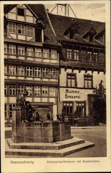 Ak Braunschweig in Niedersachsen, Steger'sches Mummehaus, Eulenspiegelbrunnen 0