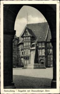 Ak Braunschweig in Niedersachsen, Burgplatz, Braunschweiger Löwe