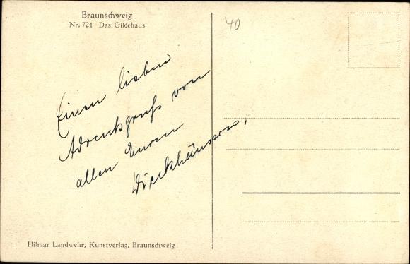 Ak Braunschweig in Niedersachsen, Gildehaus 1