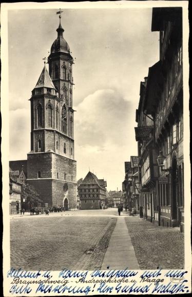 Ak Braunschweig in Niedersachsen, Andreaskirche, Waage 0