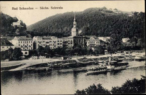 Ak Bad Schandau Sächsische Schweiz, Panorama, Salondampfer Riesa 0