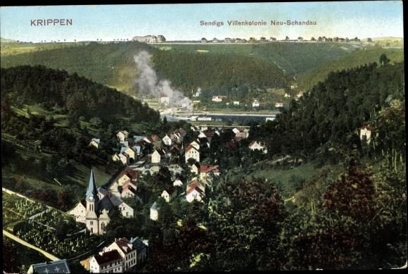 Ak Krippen Bad Schandau Sächsische Schweiz, Sendigs Villenkolonie 0